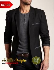 Blazer Pria Kasual Semi Formal (Black Grey 02)